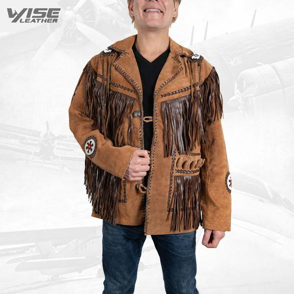 Men Exclusive Fringes Jacket Chingari Real Leather Suede Western Style