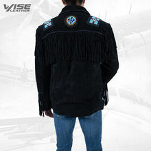 Men Exclusive Fringes Jacket Crow Real Leather Suede Western Style