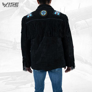 Men Exclusive Fringes Jacket Crow Real Leather Suede Western Style - Wiseleather