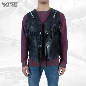 Men Exclusive Fringes Leather Vest Western Style Pure Sheep Nappa Leather - Wiseleather