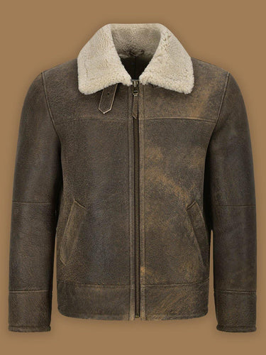 MEN OLD FASHION BROWN SHEARLING JACKET