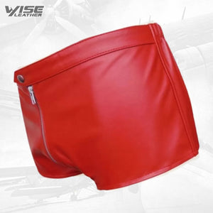 Men One Way Front To Back Zip Closure Real Sheepskin Red Leather Shorts