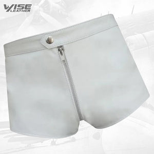 Men One Way Front To Back Zip Closure Real Sheepskin White Leather Shorts