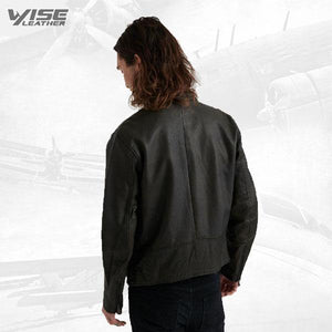 Men Short Black Leather Jacket - Wiseleather
