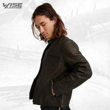 Men Short Black Leather Jacket