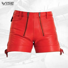 Men Unique Fashion Real Sheepskin Red Leather Shorts