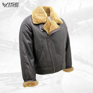 Men's Aviator Cross Zip Ginger Shearling Sheepskin Brown Leather Jacket - Wiseleather
