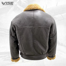 Men's Aviator Cross Zip Ginger Shearling Sheepskin Brown Leather Jacket