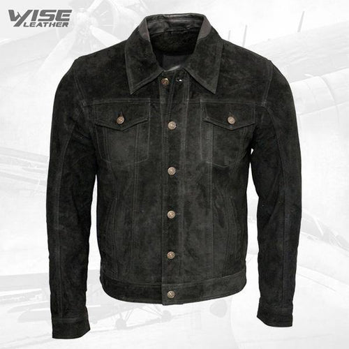 Men's Black Genuine Cowhide Suede Leather Jacket