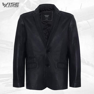 Men's Black Genuine Leather Blazer Soft Real Italian Fitted Vintage Jacket Coat