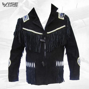Men's Black Western Jacket Cowboy Suede Leather Jacket with Fringes Jacket - Wiseleather