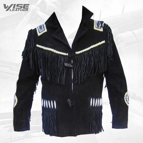 Men's Black Western Jacket Cowboy Suede Leather Jacket with Fringes Jacket