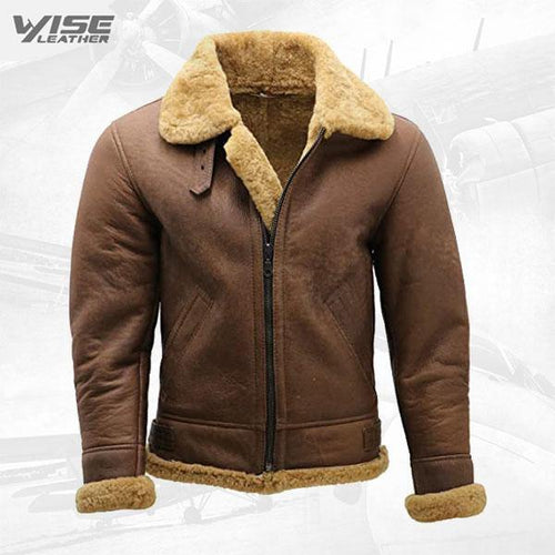 Men's Brown B3 Shearling Sheepskin WW 2 Bomber Leather Flying Aviator Jacket