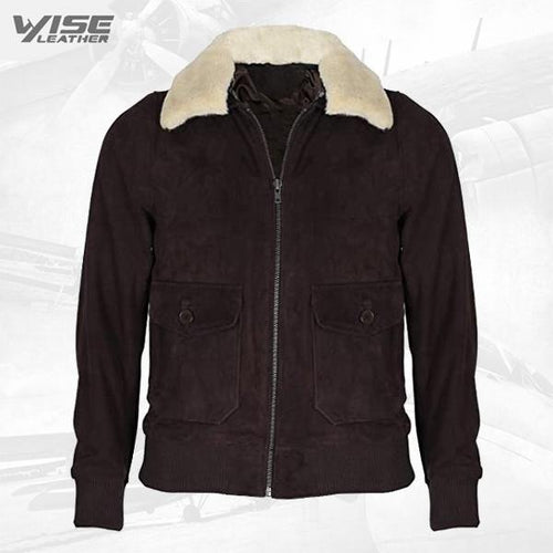 Men's Brown Flight Bomber Leather Suede Jacket with Removable Shearling Collar