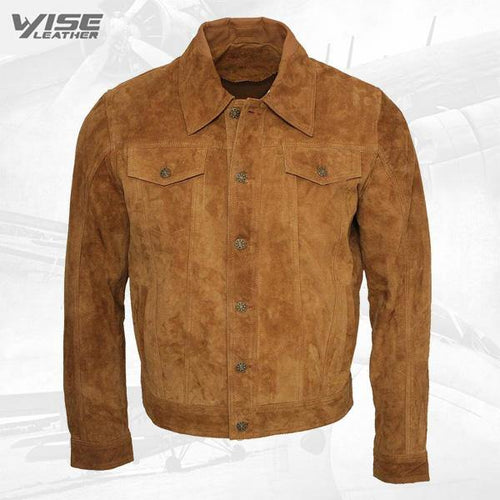 Men's Brown Genuine Cowhide Suede Leather Jacket