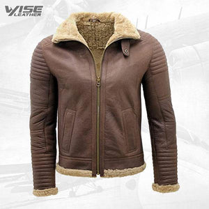 Men's Brown Nappa Leather Sheepskin Biker Jacket - Wiseleather