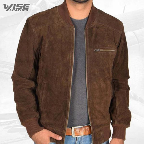 Men's Brown Suede Leather Bomber Jacket