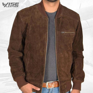 Men's Brown Suede Leather Bomber Jacket - Wiseleather