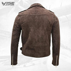 Men's Classic Brando Casual Tan Suede Leather Biker Jacket - Wiseleather