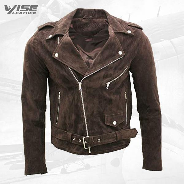 Men's Classic Brando Casual Tan Suede Leather Biker Jacket