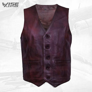 Men's Classic Smart Conker Brown Leather Waistcoat - Wiseleather