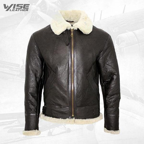 Men's Cream B3 Shearling Sheepskin World War 2 Bomber Leather Flying Aviator Jacket