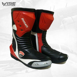Men's Ducati Motorbike Leather Boots Motorcycle Racing Shoes Elegant Design