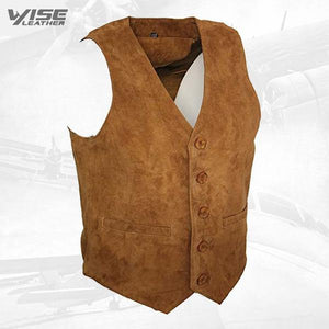 Men's Goat Suede Classic Smart Tan Leather Waistcoat - Wiseleather