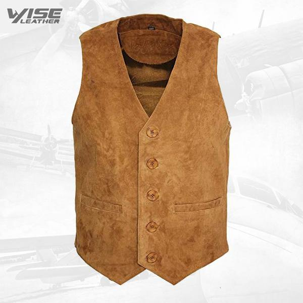 Men's Goat Suede Classic Smart Tan Leather Waistcoat