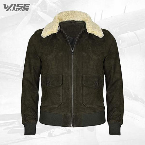 Men's Green Flight Bomber Leather Suede Jacket with Removable Shearling Collar
