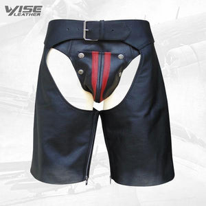 Men's Leather Chaps Shorts with Colour Stripe and Eyelets on the Side - Wiseleather