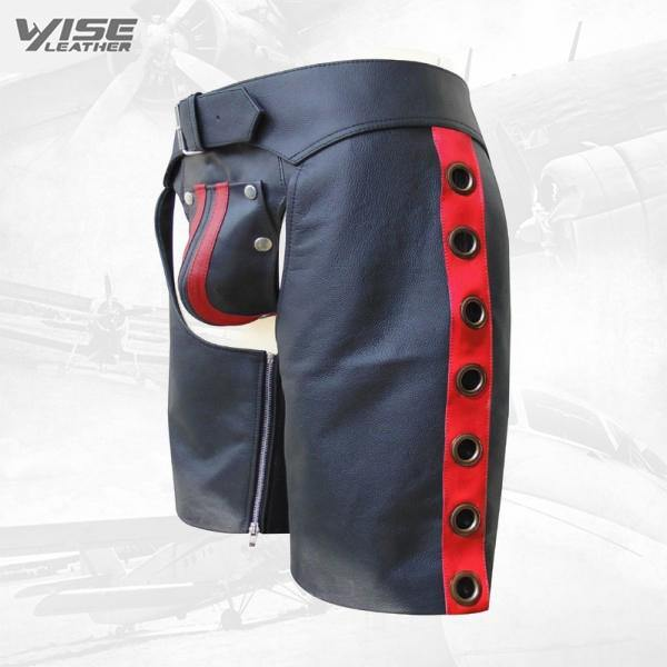 Men's Leather Chaps Shorts with Colour Stripe and Eyelets on the Side