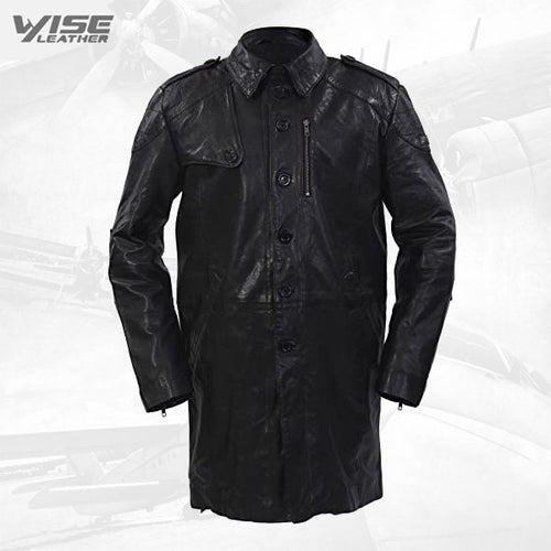 Men's Long Military Soft Distressed Black Leather Trench Coat