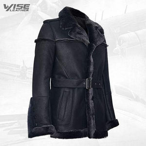 Men's Merino Black Snowtip Real Sheepskin Suede Leather Jacket with Tie Belt - Wiseleather
