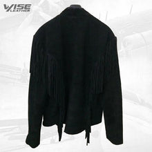 Men's Native American Black Cow Suede Leather Fringes Boness Jacket