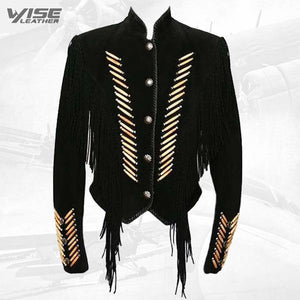 Men's Native American Black Cow Suede Leather Fringes Boness Jacket - Wiseleather