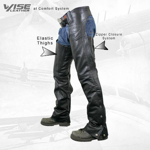 Men's Premium Black Cowhide Leather Motorcycle Chaps