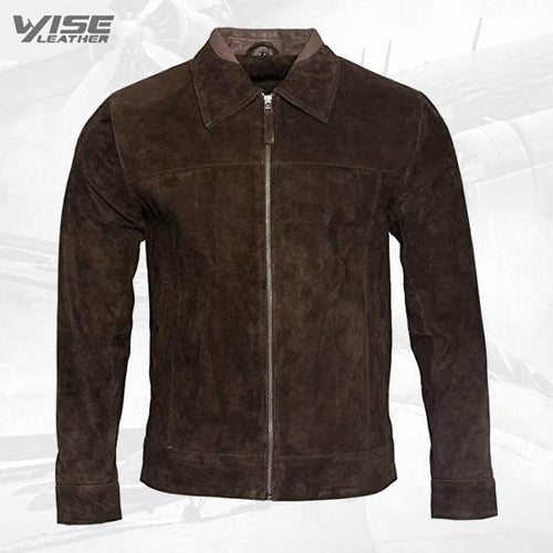 Men's Retro Brown Tan 100% Goat Suede Leather Harington Biker Jacket