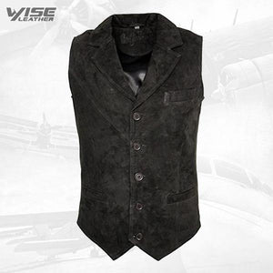Men's Smooth Goat Suede Classic Smart Black Leather Waistcoat