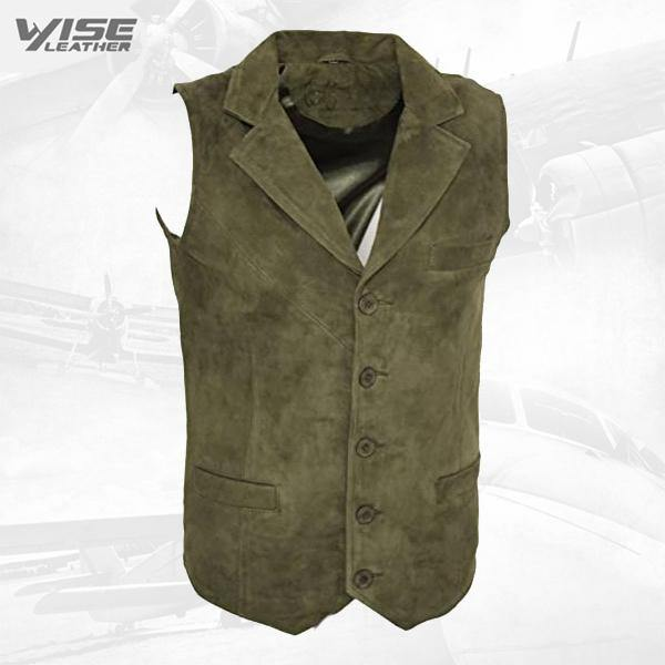 Men's Smooth Goat Suede Classic Smart Khaki Leather Waistcoat