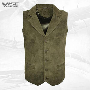 Men's Smooth Goat Suede Classic Smart Khaki Leather Waistcoat - Wiseleather