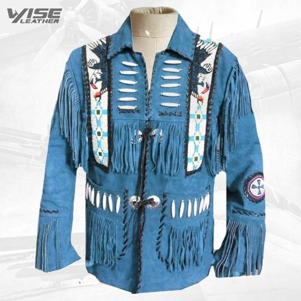 Men's Suede Leather Western Cowboy Fringe Bones Beads Coat Jackets