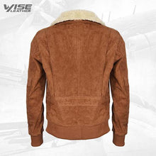 Men's Tan Flight Bomber Leather Suede Jacket with Removable Shearling Collar