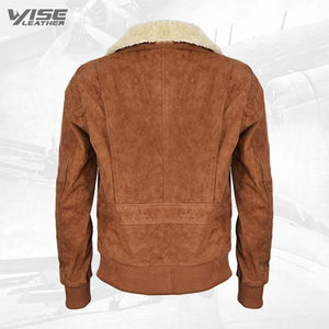 Men's Tan Flight Bomber Leather Suede Jacket with Removable Shearling Collar - Wiseleather