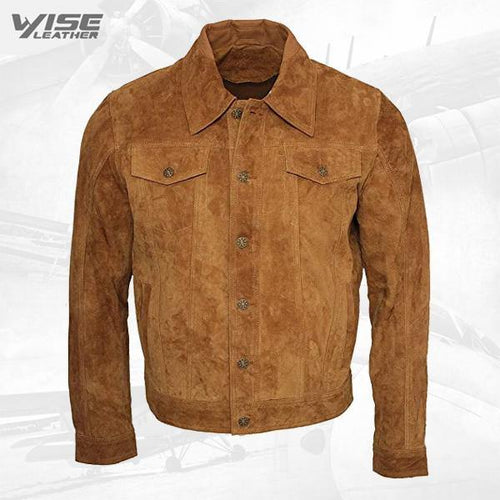 Men's Trucker Casual Tan Goat Brown Suede Leather Shirt Jeans Jacket