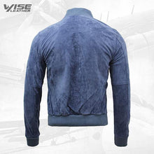 Men's Varsity Blue Leather Suede Bomber Jacket