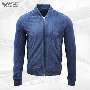 Men's Varsity Blue Leather Suede Bomber Jacket - Wiseleather