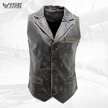 Men's Vintage Smart Black Leather Waistcoat