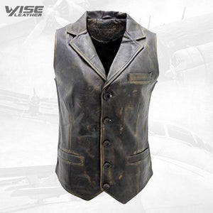 Men's Vintage Smart Black Leather Waistcoat - Wiseleather