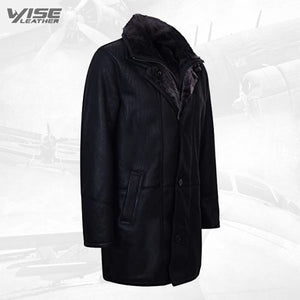 Men's Warm Black Nappa Leather Shearling Sheepskin Coat
